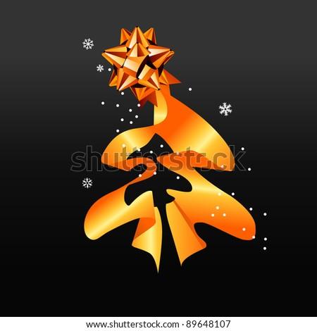 Christmas tree made of silk gold ribbon - stock photo