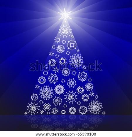Christmas tree made of snowflakes - stock photo