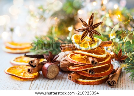 Christmas tree made out of dried oranges,cinnamon sticks and anise star - stock photo