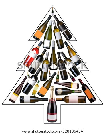 Christmas tree made with wine bottles