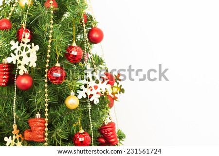 Christmas tree, new year, red balloons, Santa Claus - stock photo