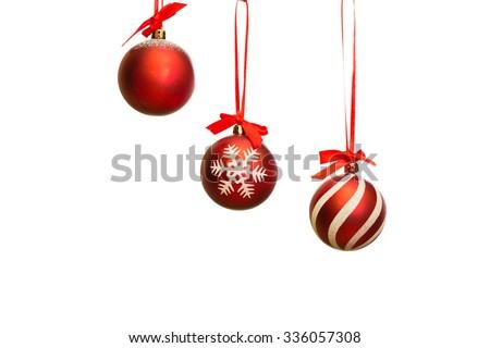 Christmas tree, new year, red balloons, Santa Claus - stock photo