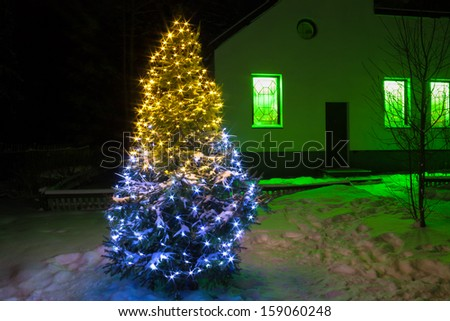 Christmas tree  night with lights and rural house - stock photo