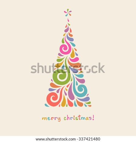 Christmas tree of swirl shapes. Original modern design element. Greeting, invitation cute card. Simple decorative illustration for print, web