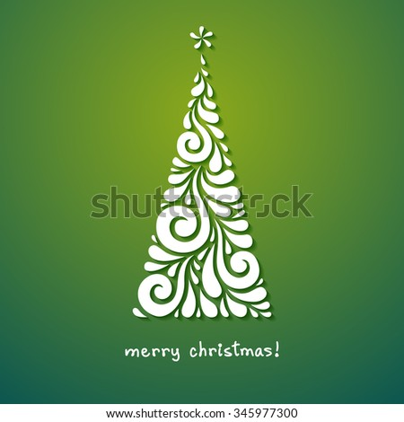 Christmas Tree Of Swirl Shapes. Original Modern Design Element. Greeting,  Invitation Cute Card