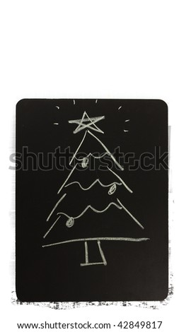 christmas tree on a chalkboard - stock photo