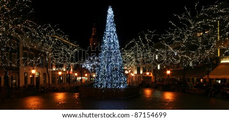 Christmas Tree on a town square in The Hague, Holland - stock photo