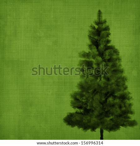 Christmas tree on abstract green vintage background - stock photo