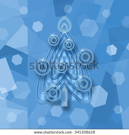 Christmas tree on an icy background - stock photo