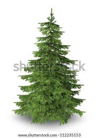 Christmas tree on pure white background with clipping path included.