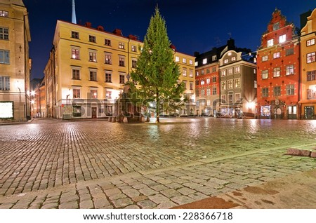 Christmas tree on Stortorget at night, Stockholm, Sweden. - stock photo