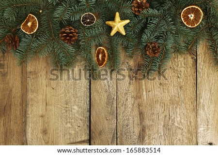 Christmas tree on the table with place for text - stock photo