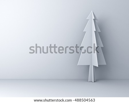 Christmas tree on white background for christmas decoration with shadow. 3D rendering.