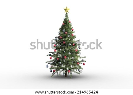 Christmas tree on white background with copy space - stock photo