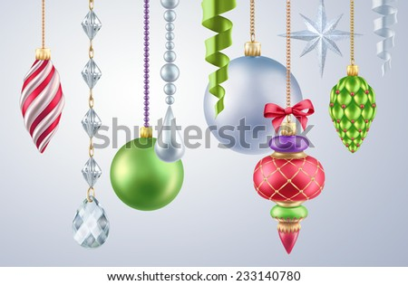 Christmas tree ornaments, assorted decorative toys, glass balls, isolated design elements - stock photo