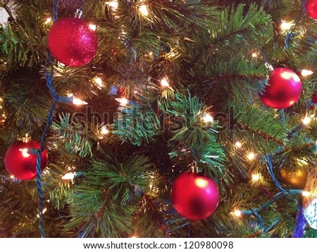 Christmas Tree Ornaments on Christmas Tree Closeup