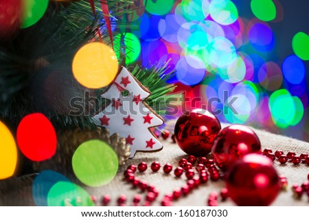 Christmas tree over bright festive background