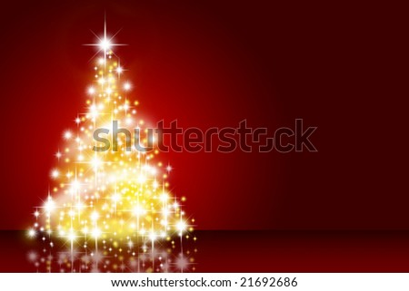 Christmas tree over deep red background