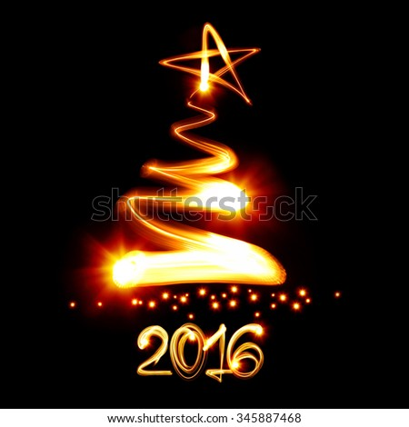Christmas tree painted by light - New year 2016 - stock photo