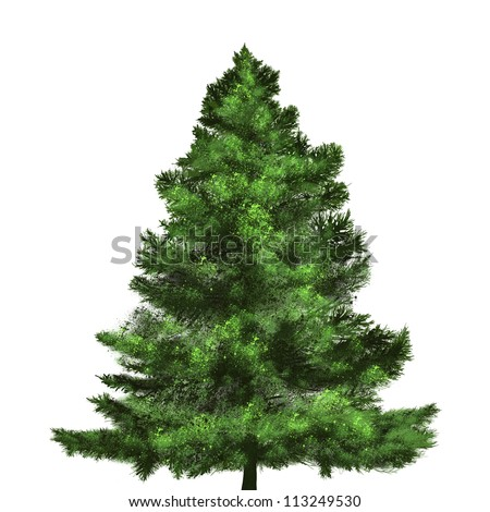 christmas tree painting on white background