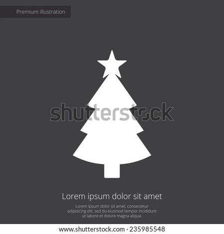 Christmas tree premium illustration icon, isolated, white on dark background, with text elements  - stock photo