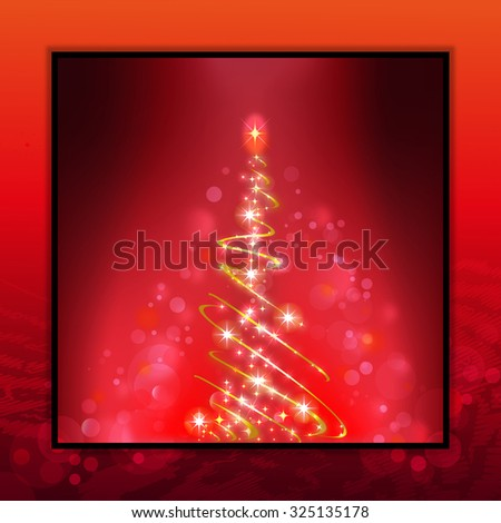christmas tree, red background - stock photo