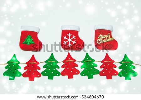 christmas tree, stocking, Ornament and Christmas items decorate for the holy night. Merry xmas and happy new year background and texture.