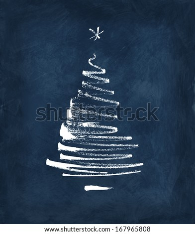 christmas tree, stylized, simplified, reduced to a few freehand dry brush lines - stock photo