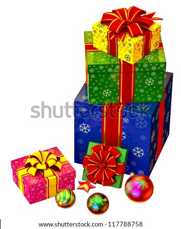 Christmas tree toys and set of pink, yellow, green and blue boxes ornamented with the snowflakes and decorated by red bows as gifts