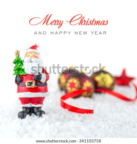 Christmas tree toys and snowflake on white background - stock photo
