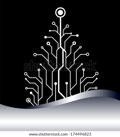 christmas tree vector background. bitmap