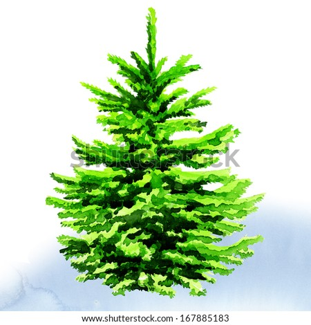 Christmas tree. watercolor painting on white background