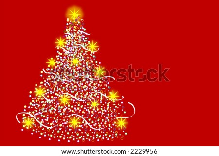 Christmas tree whit yellow stars on red background