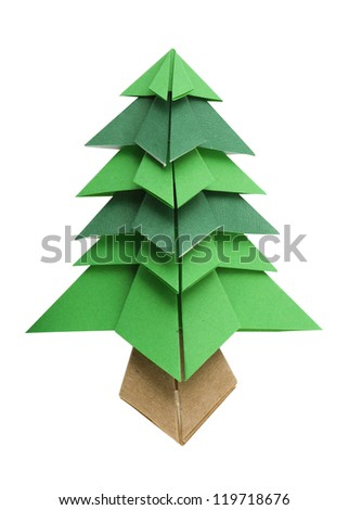 Christmas tree white isolated origami