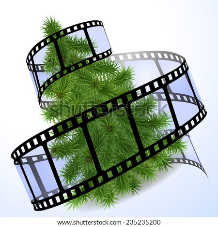 Christmas tree with a blue film strip - stock photo