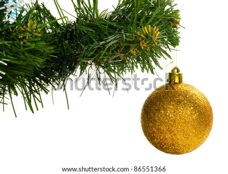 christmas tree with ball cut out from white background - stock photo