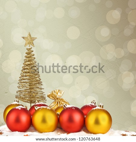 Christmas tree with balls and gift bags on snow background abstract - stock photo