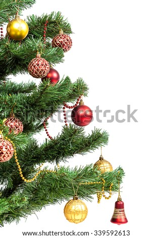 Christmas tree with baubles isolated on white background.