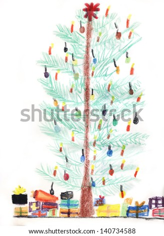 Christmas tree with candles and christmas presents - stock photo