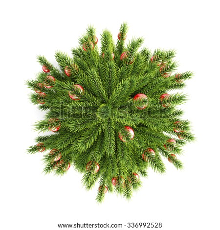 christmas tree with christmas balls top view on a white background 3d illustration - Christmas Tree Tops