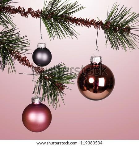 Christmas tree with Christmas decoration - stock photo