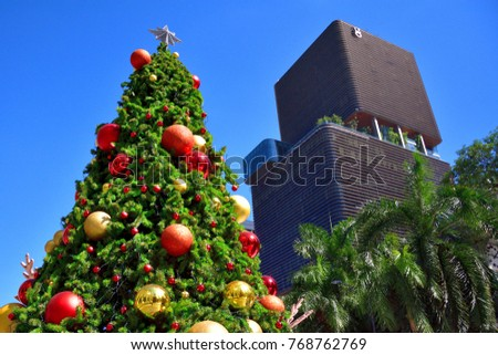 Christmas tree with colorful decorations, Bangkok, December 3rd, 2017, Thailand