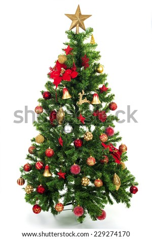 Christmas tree with colorful ornaments, isolated on white - stock photo