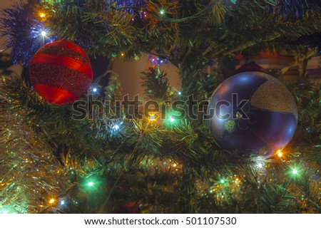 Christmas tree with decoration, close-up