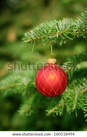 Christmas tree with decoration, detail - stock photo