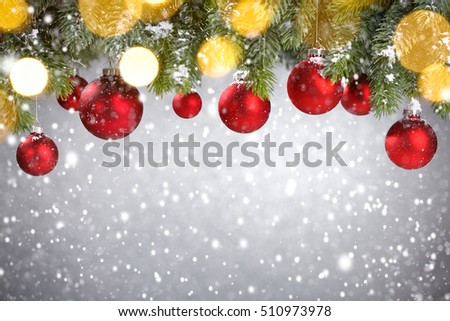 Christmas tree with decoration in snow