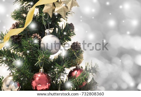 Christmas Tree With Decorations And Snowflake On Bokeh Background For Happy New Year 2018