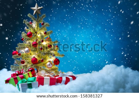 Christmas tree with decorations,Christmas concept.