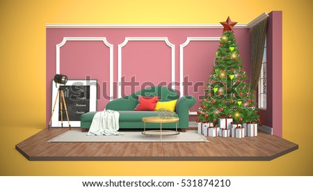 Christmas Tree Decorations Living Room 3 D Stock Illustration ...