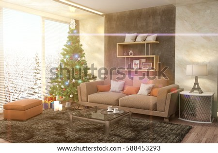 Christmas Tree With Decorations In The Living Room. 3d Illustration Part 92